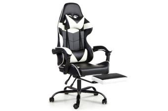 Gaming Office Chairs Computer Seating Racing Recliner Footrest Black White