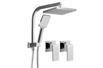 WELS Square 8 inch Rain Shower Head and Taps Set Handheld Spray Bracket Rail Chrome