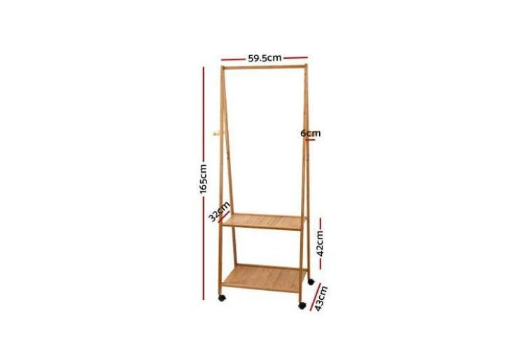 Bamboo Hanger Stand Wooden Clothes Rack Display Shelf