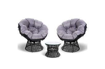 Gardeon Papasan Chair and Side Table Set- Black