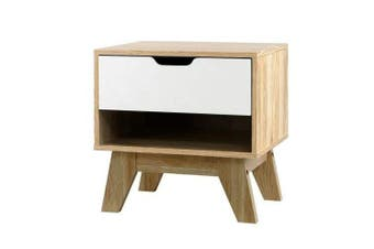Bedside Table Drawer Nightstand Shelf Cabinet Storage Lamp Side Wooden