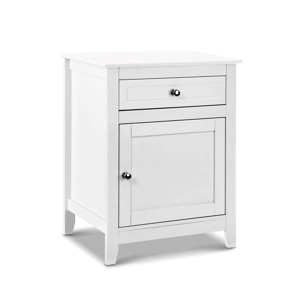 Bedside Tables Big Storage Drawers Cabinet Nightstand Lamp Chest White Matt Blatt