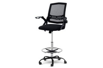 Office Chair Veer Drafting Stool Mesh Chairs Flip Up Armrest Black