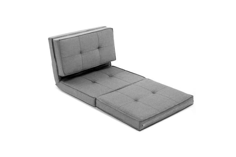 Lounge Sofa Floor Couch Chaise Chair Recliner Futon Linen Folding Light Grey