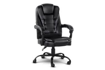 Electric Massage Office Chairs PU Leather Recliner Computer Gaming Seat Black