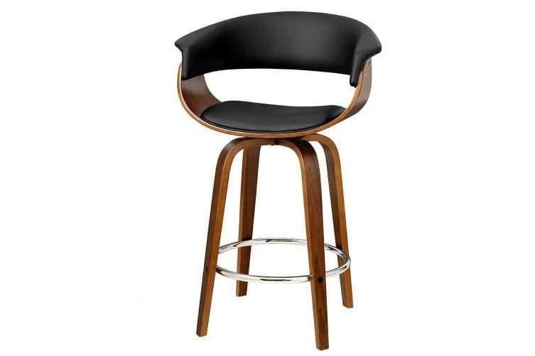 1x Swivel Bar Stools Wooden Bar Stool Kitchen Leather Black