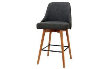 2x Wooden Bar Stools Swivel Bar Stool Kitchen Cafe Fabric Charcoal