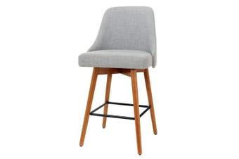 2x Wooden Bar Stools Swivel Bar Stool Kitchen Cafe Fabric Light Grey