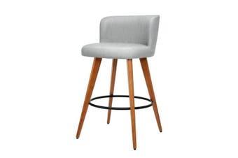 2x Wooden Bar Stools Modern Bar Stool Kitchen Fabric Light Grey