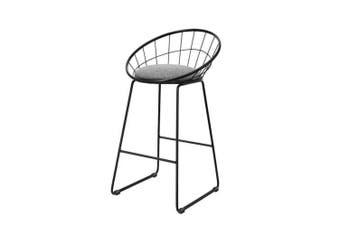 2x Nordic Bar Stools Metallic Bar Stool Kitchen Fabric Grey Black