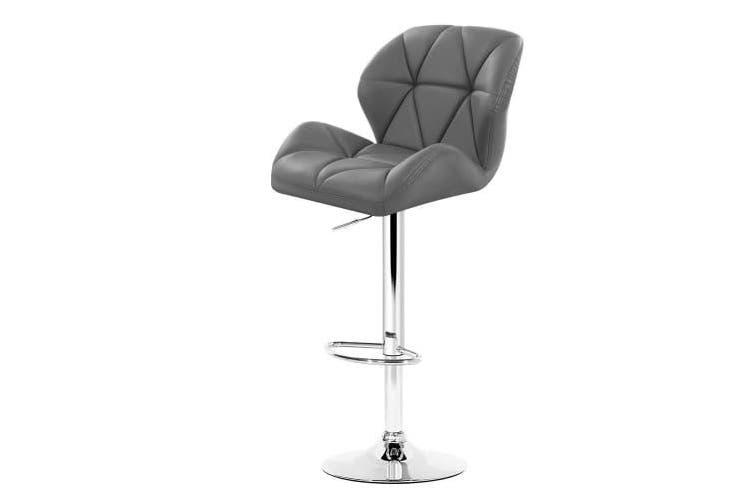 2x Bar Stools Gas Lift Kitchen Swivel Chairs Leather Chrome Grey