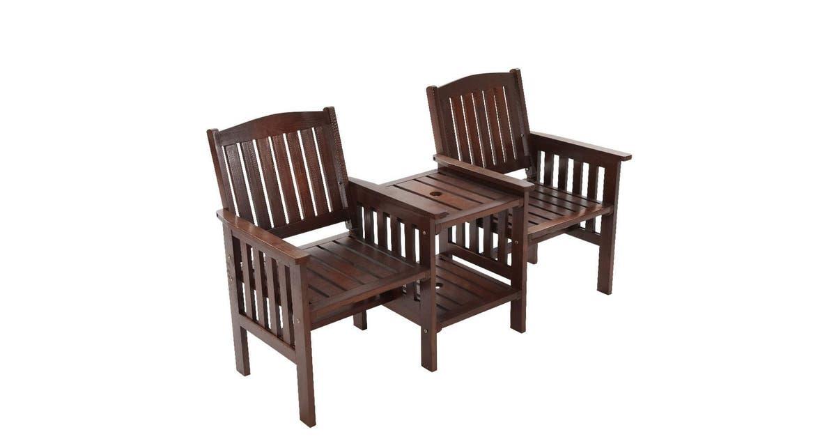 Gardeon Garden Bench Chair Table, Wooden Bench Outdoor Table