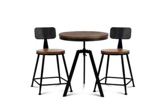 Bar Table and Stools set Vintage Retro Elm Wood Metal Brown