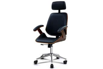 Wooden Office Chair Computer Gaming Chairs Executive Leather Black