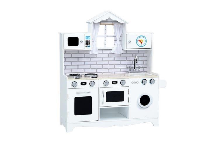 Keezi Kids Kitchen Set Pretend Play Food Sets Childrens Utensils Toys White Matt Blatt