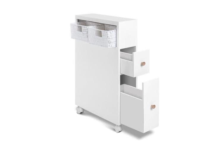 Bathroom Storage Toilet Cabinet Caddy Holder Drawer Basket Wheels White