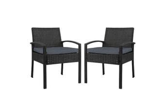 Gardeon Outdoor Furniture Dining Chairs Wicker Cushion Black x2