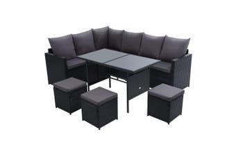 Gardeon Outdoor Furniture Dining Setting Sofa Set Lounge Wicker 9 Seater Black