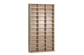 528 DVD 1116 CD Storage Shelf Media Rack Stand Cupboard Book Unit Oak