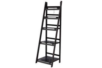 Display Shelf 5 Tier Wooden Ladder Stand Storage Book Shelves Rack Coffee