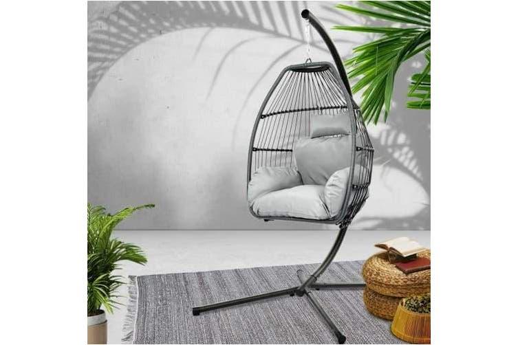 Mid Century Rattan Chair, Gardeon Outdoor Furniture Egg Hammock Hanging Swing Chair Stand Pod Wicker Grey Kogan Com