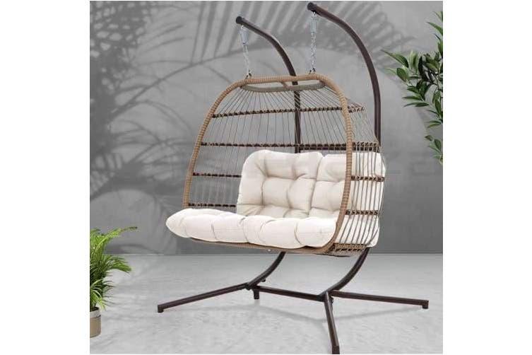 Dick Smith Gardeon Outdoor Furniture Hanging Swing Chair Stand Egg Hammock Rattan Wicker Latte Other Patio Garden Furniture Home Garden Yard Garden Outdoor Living