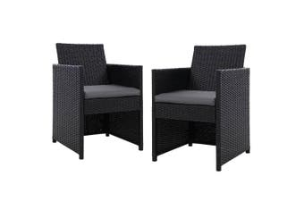 2x Gardeon Patio Furniture Outdoor Dining Chairs Setting Wicker Cushion