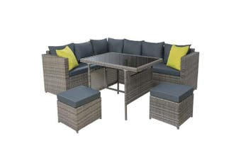 Gardeon Outdoor Furniture Patio Set Dining Sofa Table Chair Lounge Garden Wicker Grey