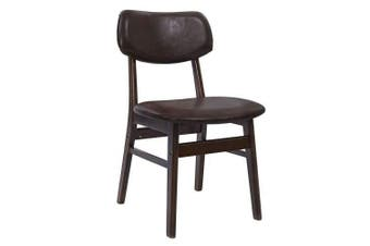 2 x Dining Chairs Retro Replica Kitchen Cafe Wood Chair Fabric Pad Brown