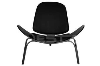 Hans Wegner Replica Lounge Shell Chair PU Leather - Black Frame - Black