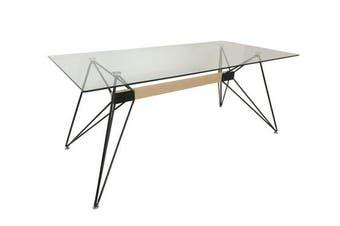 Japandi Web Dining Table - Tempered Glass - 180cm - Black
