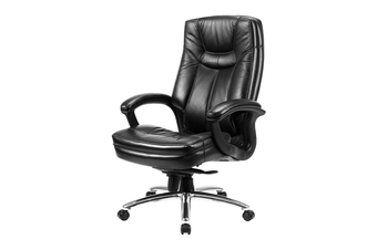 Vera Leather Office Chair High Back - Black