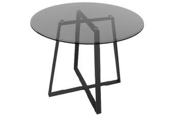 Akira Round Glass Dining Table 110cm - Smoked Glass Top - Black Legs