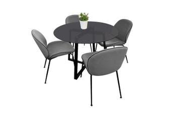 Akira Vasily 5PC Dining Set Round Glass Table 110cm - Smoked Glass Top - Black Legs