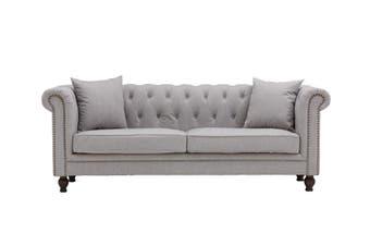 Galina 3-Seater Fabric Linen Chesterfield Sofa - Grey