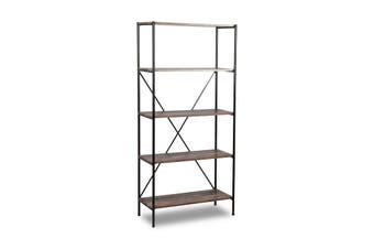 Brunei Display Bookcase - Brown & Aged Black