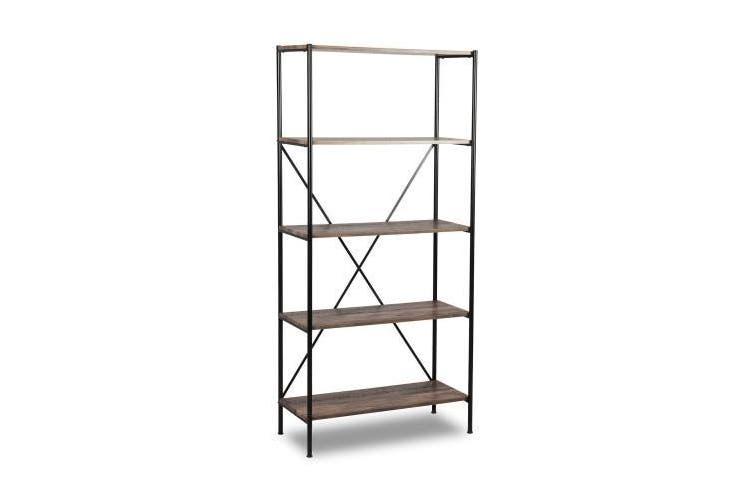Brunei Display Bookcase - Brown & Aged Black