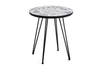 Oswald Round Side Table - Black Metal Frame - Matt Tiles & Cement Top