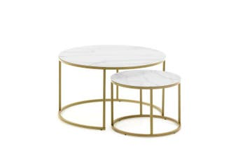 Leona Set of 2 Nesting Round Side Tables - Gold Metal Base - Tempered Glass Top With Marble Finish
