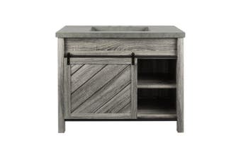 Lennox Milner Bath Vanity with Faux Cement Top in Gray with Rustic Grey Basin