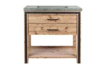 Lake Gilmour Bath Vanity in Natural Wood Grain with Faux Cement Vanity Top