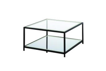 Krystof Square Coffee Table - Black Metal Frame - Glass Top
