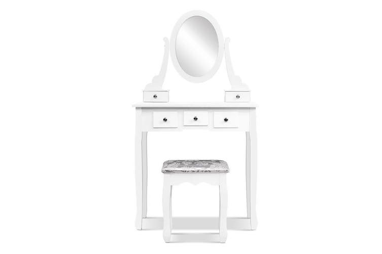 Dressing Table Stool Set Mirror Drawers Makeup Cabinet Storage Desk White