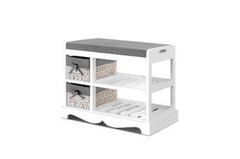 Shoe Cabinet Bench Rack Wooden Storage Organiser Shelf Stool 2 Drawers