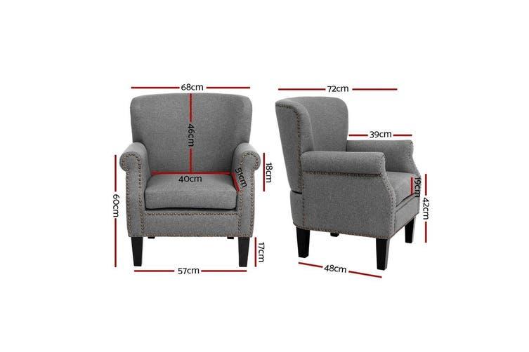 Armchair Accent Chair Retro Armchairs Lounge Accent Chair Single Sofa Linen Fabric Seat Grey Matt Blatt