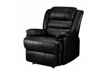 Recliner Chair Armchair Luxury Single Lounge Sofa Couch Leather Black
