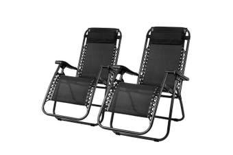 Gardeon Zero Gravity Chairs 2PC Reclining Outdoor Furniture Sun Lounge Folding Camping Lounger Black