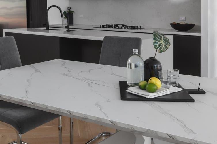 Layla Rectangular Dining Table Marble Effect 210cm White Metal Frame White Amara Matt Blatt