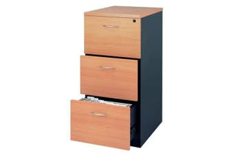 Mantone 3 Drawer Filing Cabinet - Select Beech/Ironstone