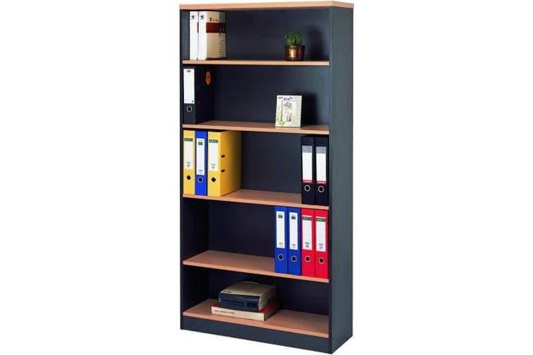 Mantone High Bookcase - Select Beech/Ironstone